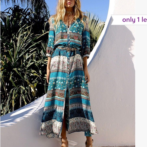 7abb3e2fd4 LAKLook Dresses | Teal Brown Paisley Vneck Flowing Dress Lrg | Poshmark